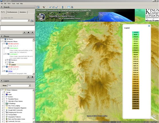 Holefilled SRTM M Digital Elevation Data V Geodata - Google earth elevation data